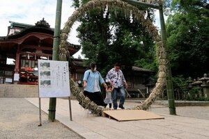 「夏越しの大祓」を前にお目見えした茅の輪(八幡市・石清水八幡宮)