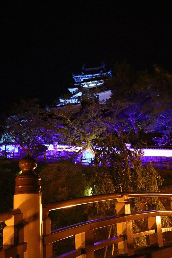 ブルーライトを浴びて、暗夜に浮かぶ福知山城天守閣(京都府福知山市内記)