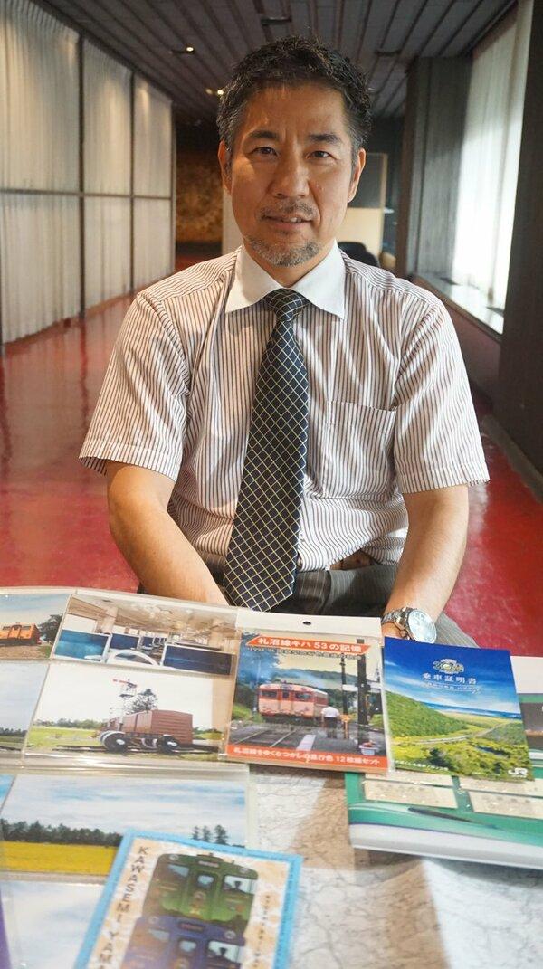 鉄道愛好家が講じて「鉄道力認定試験」を初めて開催する今道さん(京都市中京区)