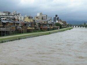 大雨で増水した鴨川(2021年5月21日、京都市の四条大橋付近)