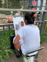 動物園で絵を描く琴塚さん。手に付いた鉛筆の粉で用紙が汚れないように、左側から絵を描き進めるという(2020年8月、京都市左京区・市動物園)=琴塚さん提供