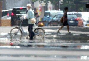 暑さで路面に現れた「逃げ水」(8月5日、大津市打出浜)。温暖化対策が強化されない場合、県民の生活に大きな影響が出ると県は予測する