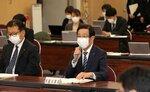 京都を含む6府県に対する2月末での緊急事態宣言解除の決定を受け、対策本部会議で発言する西脇知事(26日午後7時30分、京都市上京区・府庁)