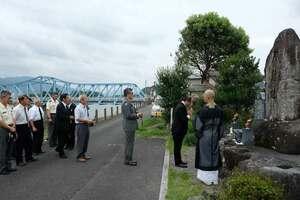 救助活動中に亡くなった自衛隊員を供養する慰霊祭(京都府南丹市八木町)