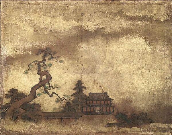 黒書院 二の間障壁画「楼閣山水図」部分