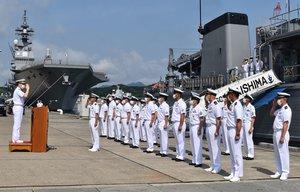 舞鶴港に入港した掃海艇「あいしま」の歓迎式典(舞鶴市北吸・海上自衛隊北吸桟橋)