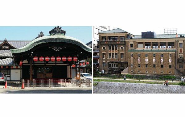 【資料写真】祇園甲部歌舞練場(左)と先斗町歌舞練場