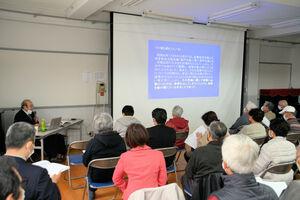 室戸台風の被害を受けながらも、勧修小の児童700人を守った教職員の決断や行動が紹介された講演(京都市山科区・勧修小)