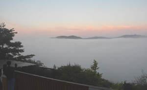 幻想的な美しさを見せる雲海(15日午前5時40分、京都府亀岡市曽我部町・かめおか霧のテラス)