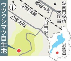 湖南市のウツクシマツ自生地の地図